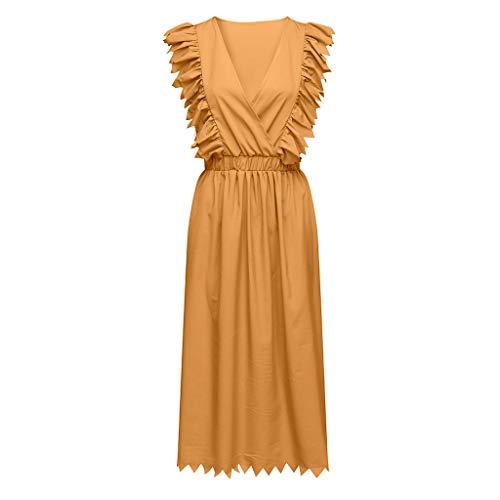 einfarbig V-Ausschnitt Kleid Langen Abschnitt tief V-Ausschnitt Korsett Rüschen Faltenrock elegant sexy Cocktail Party Rock ()
