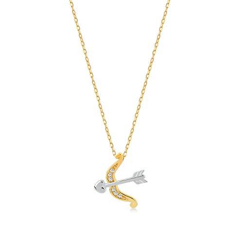 Gelin Gold Damen Halskette 14 Karat - 585 Gelbgold mit Anhänger Pfeil und Bogen 0.02ct Diamant, Kette 45cm Geschenk für Valentinstag