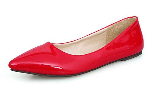 Schuhe Geschlossen Aisun Süß Spitz Damen Rot Flach Lackleder PTxqHYxwR