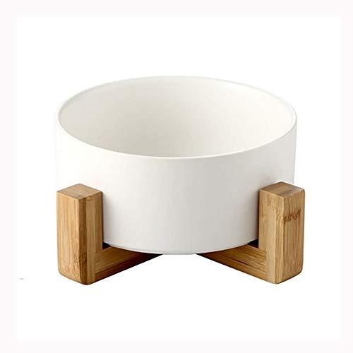 Elevated Pet Dog Bowl - Abnehmbare Schüssel for angehobene Hunde mit rutschfestem Ständer, Doppel-Futternapf aus Keramik for kleine Hunde und Katzen (Color : White) -