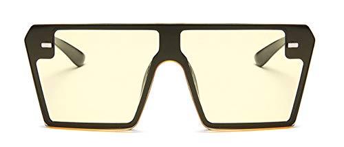 WSKPE Sonnenbrille Übergroße Quadratische Sonnenbrille Mit Flacher Oberseite Gradient Sonnenbrillen Randlos Mit Großem Rahmen Uv400 Gelbe Linse