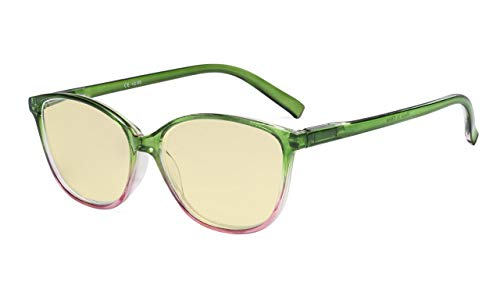 Eyekepper Blaulichtblockierung Computerbrille mit gelber Filtergläser-Modisch Große Katzenauge style Brille Damen - Grün Arm +1.00