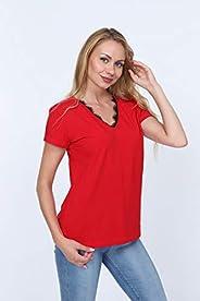 V-NECK WOMEN RED T-SHIRT
