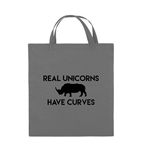 Comedy Bags - REAL UNICORNS HAVE CURVES - Jutebeutel - kurze Henkel - 38x42cm - Farbe: Schwarz / Silber Dunkelgrau / Schwarz