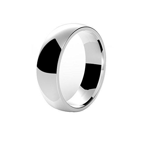Heyrock 8mm Stainless Steel Brushed Black Ring for Men Women