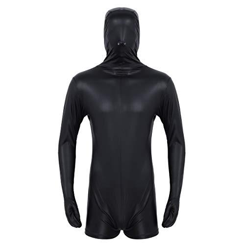 Agoky Herren Einteiler Body Wetlook Kunstleder Top Unterhemd Bodysuit Maske mit Nasenlöchern kurzer Ganzanzug Overall Schwarz Medium