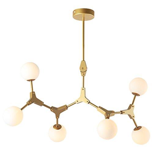 Modern Deckenlampe Moderne Metall Kronleuchter Kronleuchter Kronleuchter 3/4/6 Licht Gold Lampe Embedded Kronleuchter Balkon Schlafzimmer ( Farbe : Gold-6 heads ) (6-licht Kronleuchter Gold)