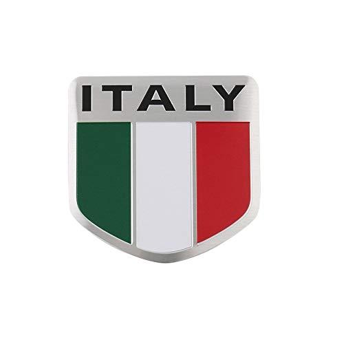 Vektenxi 1 STÜCKE Auto Aufkleber Italien Flagge Muster Aluminiumplatte Aufkleber Auto Signage Autokörperaufkleber Ideal für Ankleiden Auto verwenden