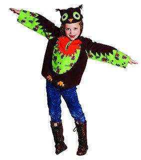Kinder Kostüm Eule Paula Größe 128, Oberteil mit Kapuze Fasching Karneval Eulchen Eulen (128)