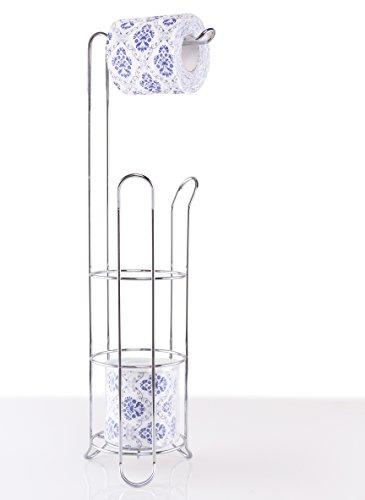 EXZACT EX-A121 Soporte de papel higiénico - Dispensador de rollo Loo con marco de alambre de pie, Almacenamiento de rollo de acero inoxidable 3/4