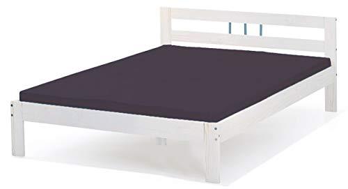 Bett 140x200 cm Einzelbett Holzbett Massivholzbett weiß lackiert Kiefer massiv