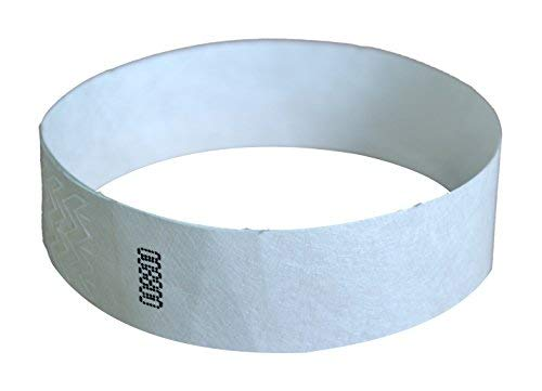 Jaimee Tyvek Paper Wristbands (White) Pack of 100