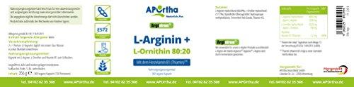 APOrtha Argiviron L-Arginin + L-Ornithin 80:20 + Herzvitamin B1-360 vegane Kapseln – allergenfrei