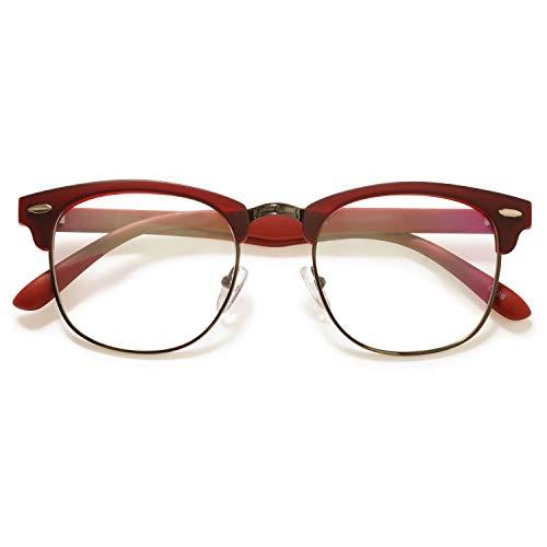 KOOSUFA 50er Jahre Retro Brille ohne Sehstärke Halbrahmen Hornbrille Damen Herren Nerd Brille Brillengestelle Streberbrille Deko Brille Vintage TR90 Brillenfassung mit Etui (Rot)