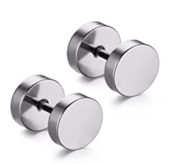Swagy Hut Round Barbell Dumbells Piercing 1 Pair 316L Surgical Stainless Steel Stud Earring