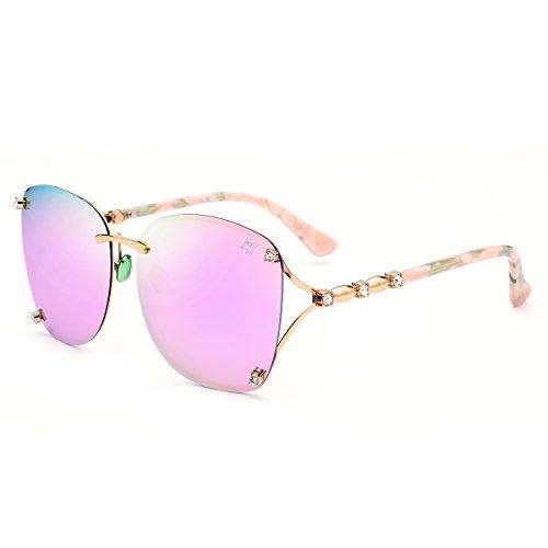 hepidem Randlos Acetat Sonnenbrille Metall Damen Übergroße Polarisierte Sun Glasses 9202, rose