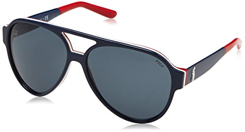 Polo Ralph Lauren Herren 0Ph4130 566787 61 Sonnenbrille, Blau (Blute/White/Red/Grey),