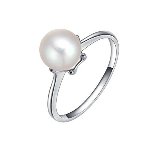 PAURO Damen Platin Plattiert Kultivierten Button Perle Ringe Einfach Klassisch Größe 60