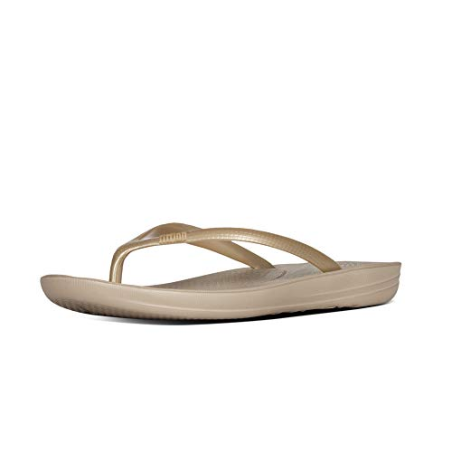 Fitflop Iqushion Ergonomic Flip-Flops, Scarpe da Spiaggia e Piscina Donna, Oro (Gold 010), 41 EU