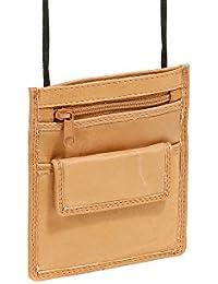 Pochette de sécurité pochette tour de cou pochette à porter LEAS en cuir véritable, marron-clair/tan - ''LEAS Travel-Line''