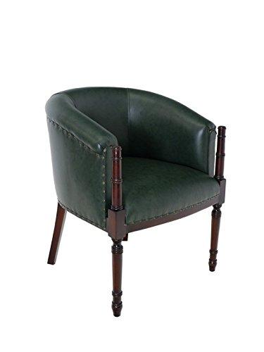 Antike Fundgrube Sessel Bürosessel Clubsessel Massivholz Nussbaum-Farbton grünes Leder (5971)