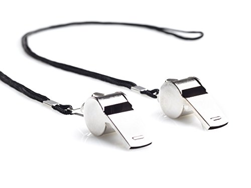 ALSASPORTS - 2 Stück - Schiedsrichter Pfeife - Coach Whistle - Fußball Pfeife - Metallpfeife mit nylon Halsband - Für In und Outdoor - Für Kinderohren geeignet
