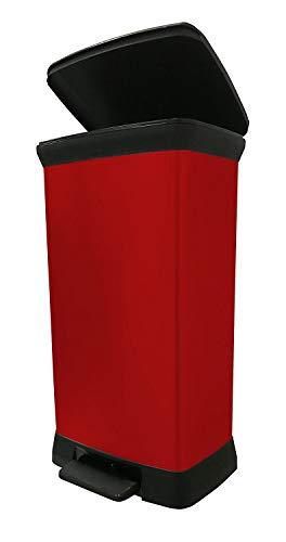 Curver 02162-931-00 Abfallbehälter Deco B Metallics mit Pedal, 50 L, rot/schwarz