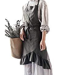 Jevopan Frauen Lätzchen Küche Schürze Lady 's Fashion Kochen Backen Kitchen Schürzen mit Schwanz Abendkleid Design Dunkelgrau
