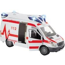 Dickie Toys 203716011 Ambulance Van Krankenwagen mit abnehmbaren Dach, 1:18, 34cm