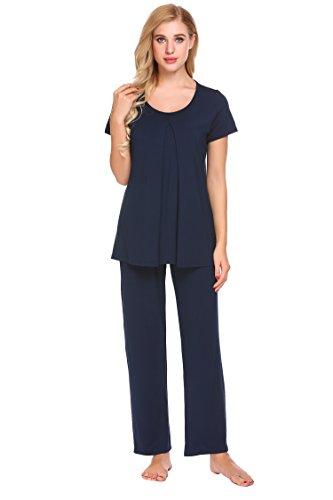 Damen Stillpyjama Stillnachthemd für Schwangere kurzarm Zweiteiliger Umstandsmode stillschlafanzug Umstandspyjama für Schwangerschaft und Stillzei (Kurzarm-pyjamas)