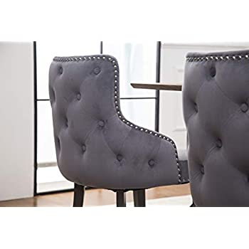 PS Global Set of 2 Luxurious Grace Dining Chairs, Easy Assembly Chrome Studding, Tufted Back, Deep Button Back, Plush Velvet New (Cream), Dark Grey