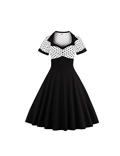 Kostüm Polka Dress Dot 50's - Naliha Frauen Vintage Kleider Polka Dot Cocktail Skater Kleid Rockabilly. schwarz 3XL