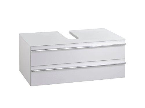 Cavadore Waschtisch Sleek 09 / Moderner Unterschrank für Waschbecken aus Holz mit Hochglanz-Front in Weiß und Ablage aus Glas / 46 x 80 x 33 cm