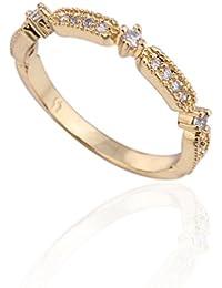 YAZILIND 18K oro plateado joyas de la boda de la boda de la boda fina de la boda CZ Zirconia cúbico princesa Cut Promise aniversario joyería nupcial Infinity Love for Her