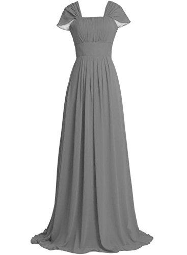 Azbro Women's Elegant Ruffled Design Maxi Prom Dress Light Grey