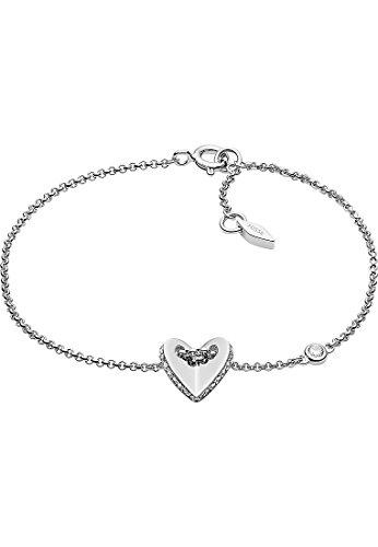 Fossil JFS00424040 Damen Armband Herz Sterling-Silber 925 Silber Weiß Zirkonia 18,5 cm