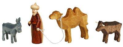 Krippefiguren - bunt Kameltreiber mit Kamel, Ochse u. Esel Höhe ca 6,5 cm NEU Miniaturen Figuren Holz Erzgebirge