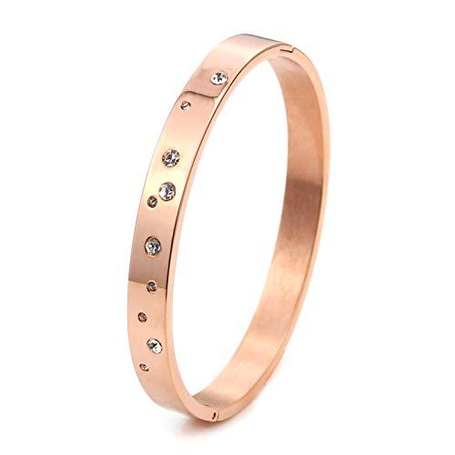 MEINLY❤ STERNE | Modernes & Elegantes Armreif Armband hergestellt aus hochwertigem 316L Chirurgenstahl vergoldet mit 18K Gold in Rosé-Gold für Frauen Damen Mädchen (Roségold)