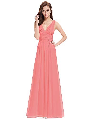 Ever-Pretty V-Col Maxi Mousseline Robe de Soirée 36 Corail Rouge