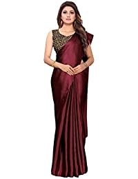 VRUTI Fashion Satin Silk Shiny Glamourous Draped Saree with Brocade Blouse