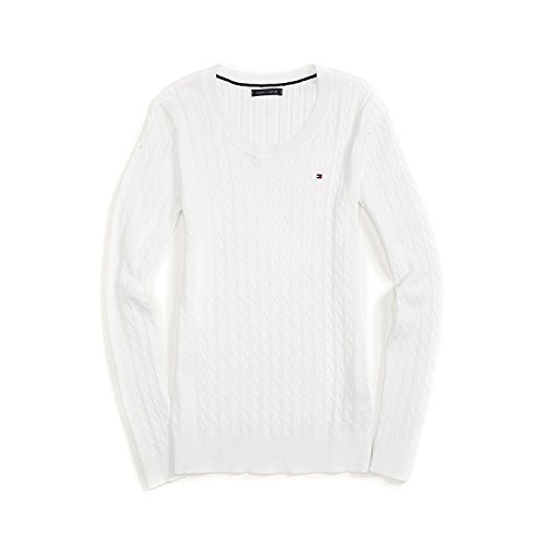 Tommy Hilfiger Cable Knit Pullover (Tommy Hilfiger Damen Pulli, Pullover, Cable Knit Sweater, Strick, Weiß, Alle Großen (Small))
