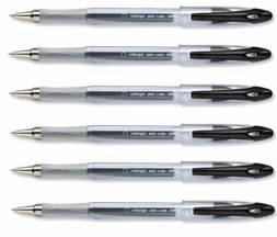 12 X 5 Star Black Roller Gel Pen Clear Barrel 1.0mm Tip 0.5mm Line