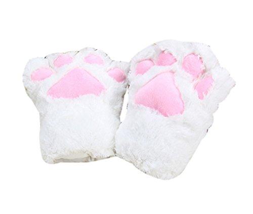 ELE GENS Damen Mädchen Handschuhe Plüsch Bär Katze Pfote Kostüm (Weiß)