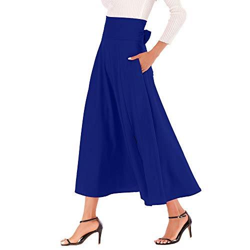 Doppel Taille Jean (ESAILQ Damen Kleider Frau Hohe Taille Plissiert Eine Linie Langer Rock Vorne Geschlitzter GüRtel Maxirock(Medium,Blau))