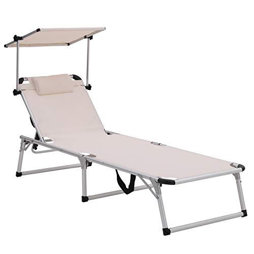 SONGMICS Sonnenliege aus Aluminium, klappbarer Liegestuhl, 193 x 67 x 32 cm, 250 kg max. statische Belastbarkeit, Kunstfasergewebe, Kopfkissen abnehmbar, Sonnendach verstellbar GCB19BEV2