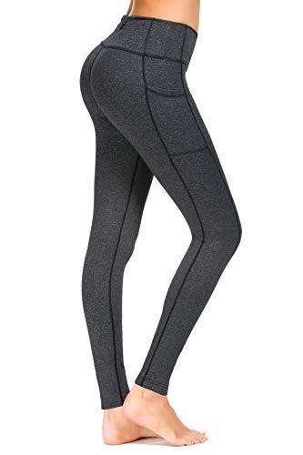 New Mincc Basique Pantalon de Sport Leggins pour Femme Yoga Collant Chic Minceur Long Hiver avec Poche zippé imprimé Motif (Gris foncé S)
