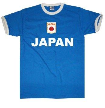 Japan T-Shirt im Trikot Look + Wappen S-XXL blau/weiss XL