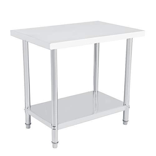 Plattform Edelstahl Doppelschicht Operationstisch Arbeitsplatz Küche Schreibtisch Stahl Arbeitstisch (Wählbare Größe) (91X61CM)