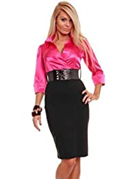 celebrity style pink shirt dress mini evening cocktail club gradation office long sleeve(uk10)