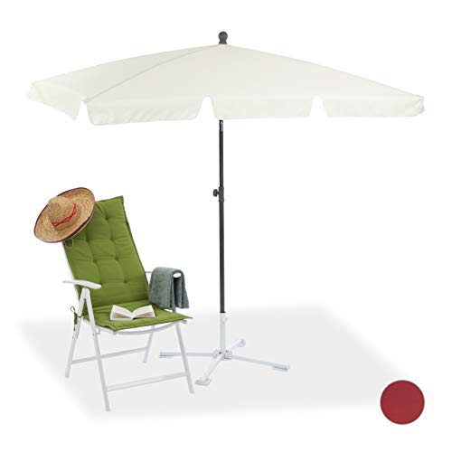 Relaxdays Sonnenschirm rechteckig, 200 x 120 cm Strandschirm, höhenverstellbarer Gartenschirm mit Kippfunktion, weiß (Markt Sonnenschirm Blau)
